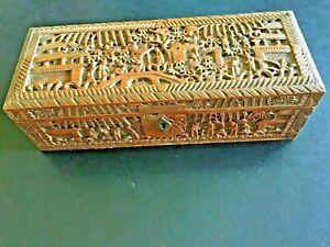 👍 19TH CENTURY RARE LARGE CHINA CHINESE CANTON CARVED SANDALWOOD BOX 古董檀香盒