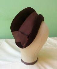 50s Vintage Hat. Brown Felt Cloche. Goodwood
