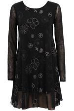 New-Black & Gold Embroidered Flower & Star Fine Mesh Swing Dress-Long Sleeves-10