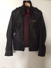 Men's Superdry Brad Soft Leather Vintage Distressed Dark Brown Jacket - Size S