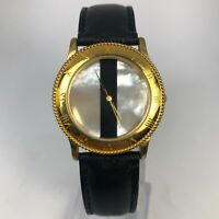Relic Womens ZR31204 Black Leather Band Gold Case Quartz Analog Wristwatch