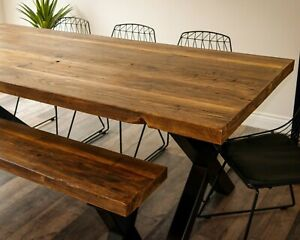 """Reclaimed Wood Dining Table and Bench. Industrial Metal X Legs """"The Old""""."""