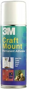 3M Craft Mount Spray Permanent Adhesive Stick Metal Ceramics Glass Paper 200 ml