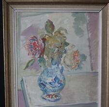 Tableau peinture signé ODONE Huile sur toile bouquet painting flowers 1958