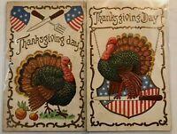 Lot of 2 Patriotic ~Thanksgiving Postcards-Turkeys~Knife~Fork~Pumpkins---s192