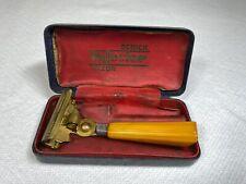 Vintage Safety Razor - Schick Injector W/ Case, Butterscotch Bakelite Handle #1