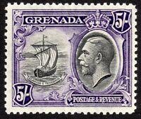Grenada 1934 black/violet 5/- script CA perf 12.5 mint SG144