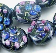 Lampwork Handmade Glass Beads Black Lace Disc (6)
