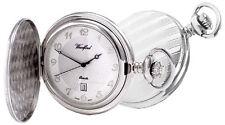 Pocket Watch Chrome Plated Arabic Hunter Quartz Woodford 1215