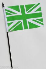 Green and White United Kingdom Union Jack Small Hand Waving Flag