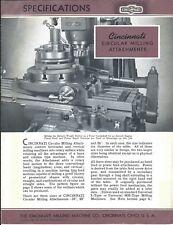 Equipment Brochure - Cincinnati - Circular Milling Attachments 1942 (E4439)