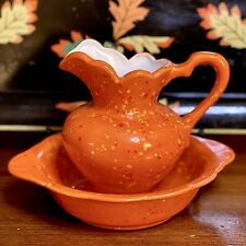 """Vintage Halloween Orange And Yellow Ceramic Hand Painted 6"""" Pitcher & Bowl"""