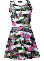Tropical Floral Pineapple Skull Monochrome Stripe Print Alternative Skater Dress