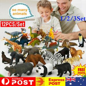 12PCS/Set Kids Small Plastic Figures Wild Ocean Farm Animal Dinosaur Toys Gifts