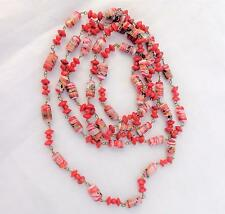 Vintage 1920s Red Spatter Glass Beads Long Necklace 53 in Flapper Length Czech