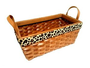 WICKER BASKET WITH HANDLES RECTANGULAR LEOPARD PRINT FABRIC ACCENT