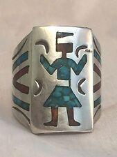 Vintage Sterling Silver Southwest Tribal Ring Yei Kachina Turquoise Size 11 MEN