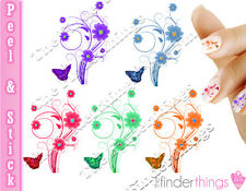 Beautiful Colorful Flower Butterfly Mix Nail Decal Stickers BFY902
