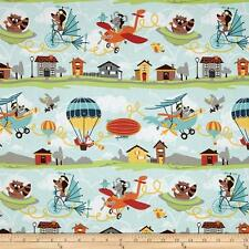 Fat Quarter Little Flyers Animals Blue Cotton Quilting Fabric Riley Blake