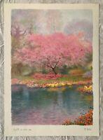 BEAUTIFUL VINTAGE PASTEL LANDSCAPE  FLOWER WATERCOLOR ART PRINT BY M. MARTEN
