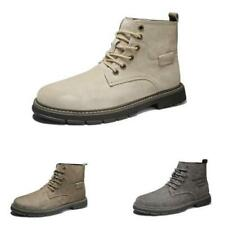 Mens High Top Work Biker Ankle Boots Shoes Round Toe Lace up Motorcycle Casual L