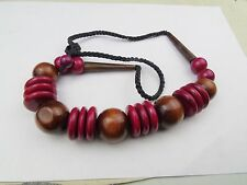 VINTAGE WOODEN WOOD FUNKY DISCO 60'S RETRO NECKLACE CHAIN