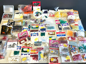 Vtg Lot 70's Crafts Bugle Beads Sequins Sewing Craft