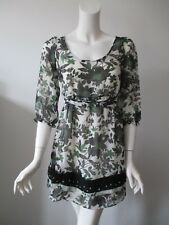 Fei Anthropologie Black Green Floral Prints Scoop Neck Tie Back Tunic Dres XS/TP