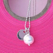 """Sterling Silver 18"""" Ball Chain with Freshwater Pearl and Silver Disc Pendant"""