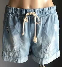 DECJUBA Faded Tencel Denim Look Distressed Relaxed Fit Shorts Size 8