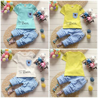 2PC Toddler Baby boys Kids Clothes summer Outfits tops Tee + short pants cool
