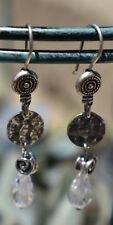 Silpada Sterling Silver CZ Drop Earrings W1757 Dangle Swirl Cubic hammered .925