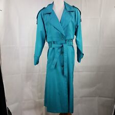 Ladies Size 12 Trench Coat Jacket Belted Turquoise Cyclone Bright Belted