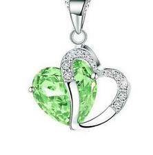 Green Crystal Chain Rhinestone Gift Love Heart Green Pendant Necklace Charms Hot