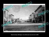 OLD LARGE HISTORIC PHOTO OF HARBOR SPRINGS MICHIGAN, THE MAIN St & STORES c1890