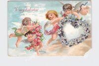PPC POSTCARD VALENTINE CHERUB CUPIDS CARRY HEART OF FLOWERS ROSES EMBOSSED