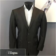 * Z ZEGNA * Recent Brown Striped City Slim Fit Wool 2-Btn Suit 42R W36 Flat