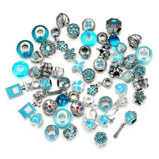 10pc Mixed Lake Blue Crystal Glass Beads, Crystal Alloy BEADS Fit Charm Bracelet