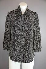 Ellison black and white womens blouse shirt top size small button down