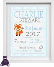 BABY BOY | Personalised Nursery Picture | Fox Theme  | FREE POST | (NP179)