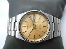 RARE VINTAGE SS JAPAN MADE GOLDEN DIAL SEIKO 5 D DATE MENS AUTOMATIC WRISTWATCH