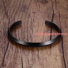 Fashion Charming Stainless Steel Black Bracelet Women Mens Cuff Bangle Jewelry
