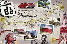 Route 66, Cruisin' Through Oklahoma, Highway, Tulsa, OK City etc. - Map Postcard