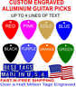 CUSTOM Engraved Personalized Aluminum GUITAR PICKS - BAND MERCH - MADE IN USA