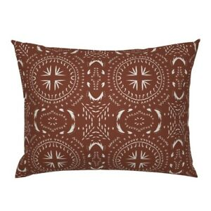Boho Moroccan Red Farmhouse Geometric Bohemian Pillow Sham by Roostery