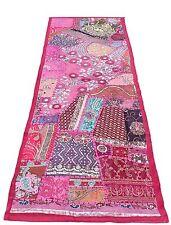 "60"" Stunning Vintage Decor Beaded Zari Moti Kundan Saree Tapestry Wall Hanging"