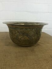 Antique Large Chinese Brass Charger Bowl Engraved Birds Clouds Serpents, Signed