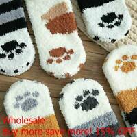 Winter Cat Claws Cute Thick Warm Sleep Floor Socks Plush Coral Fleece Girl Sock