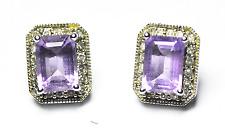 10k White Gold Designer Amethyst Diamond Rectangle Stud Pierced Earrings 10mm
