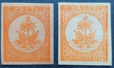 HAITI, 2 UNLISTED OLD STAMPS IN HARD PAPER